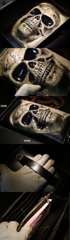 Handmade long skull clutch wallet leather men black white tooled wallet for men
