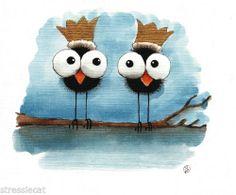 Original Watercolor Painting Folk Art Whimsical Illustration Bird Crows Kings | eBay