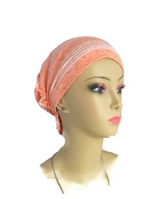 Hair Snood Turban Chemo Headwear  Peach Jersey Knit by myscap