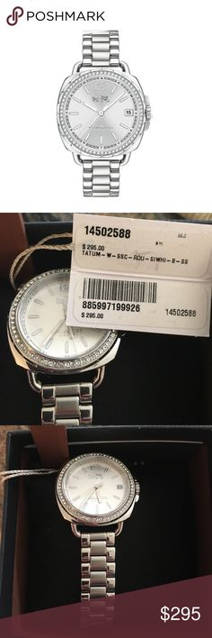 BLOWOUT SALE: Coach glimmering crystal watch This sporty Tatum women's watch from Coach adds a delicate glittering crystal bezel to its 34mm stainless steel case, and pairs a stainless steel link bracelet for stylish contrast. The silver-tone dial includes a date window, and is topped by a mineral crystal. The women's watch features a Swiss quartz movement, water-resistance to 30 meters, and secures with a deployment buckle.  <<<<<top 10% seller>>>>>> no trades pls. Comes with freebie ❤️…
