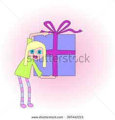 Spectacular bright blue-eyed blonde woman holding a big present or gift.