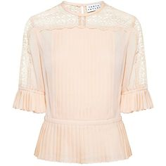 Tanya Taylor - Zohara Silk Lace Blouse (€380) ❤ liked on Polyvore featuring tops, blouses, silk blouse, see through blouse, sheer lace top, pink sheer blouse and pink peplum top