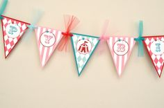 CLEARANCE Girls Circus or Carnival Party Happy Birthday Banner (Pennant). $18.00, via Etsy.