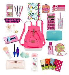 """""""Back pack essential!!"""" by ahannandita ❤ liked on Polyvore featuring beauty, Maybelline, Ted Baker, Eos, Victoria's Secret, Jonathan Adler, Marc Jacobs, Lilly Pulitzer, Emi-Jay and Kate Spade"""