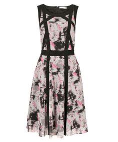 Contrast Trim Chiffon Overlay Dress, Grey/Black/Ivory/Coral Print