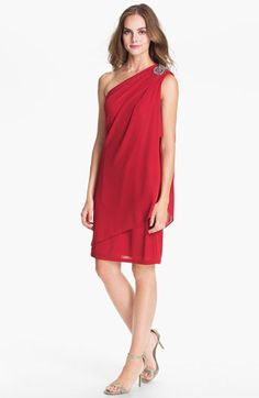 JS Boutique Embellished One Shoulder Mesh Dress available at #Nordstrom