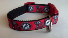 "ALABAMA Crimson Tide inspired Football Collar - 1"" wide Adjustable Dog Collar Pet Couture. $15.95, via Etsy."