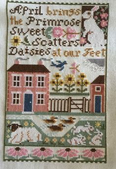 Completed Cross Stitch Prairie Schooler April Sampler   eBay
