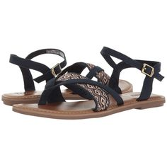 c9a399ba258 TOMS Lexie Sandal (Navy Canvas Embroidery) Women s Sandals (92 CAD) ❤ liked  on Polyvore featuring shoes