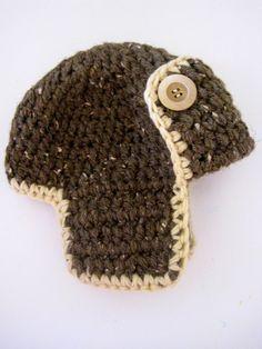 Crochet pilot hat