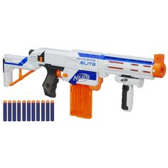It's time to take your N-Strike battling to the next level with the Retaliator blaster! You can modify this incredible 4-in-1 blaster for any mission. The Retaliator blaster is the ultimate in blaster