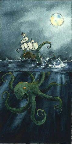 The Lowbrow Art Sale: Sylvia Ji, Luke Chueh & Drew Falchetta Instruções Origami, Steampunk Artwork, Ship Drawing, Octopus Art, Nautical Art, Lowbrow Art, Sea Monsters, Stained Glass Art, Art For Sale