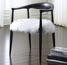 FRIDA BLACK ARM CHAIR TIBETAN FUR<BR>[available online and in stores]