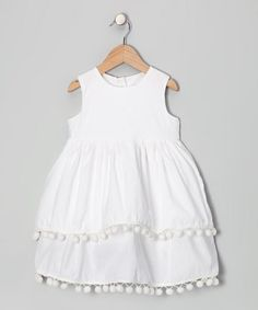 Take a look at this Moonshadow White Pom-Pom Dress - Infant, Toddler & Girls by Print Makers: Kids' Apparel on #zulily today!