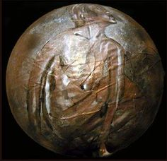 """""""Women In the Moon""""  Oil on Paper Mache Sphere  12"""" x 12"""" x 12"""""""