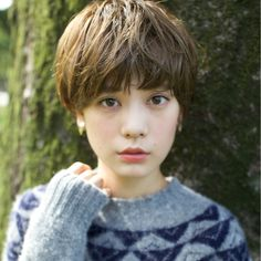 石川 Asian Short Hair, Girl Short Hair, Short Hair Cuts, Pixie Hairstyles, Pixie Haircut, Cool Hairstyles, Love Hair, My Hair, Shot Hair Styles