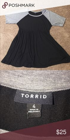Torrid fit/flare dress Cute summer Torrid fit and flare dress. Soft, breezy, flowy, black with grey dress! Worn only a few times. torrid Dresses Midi