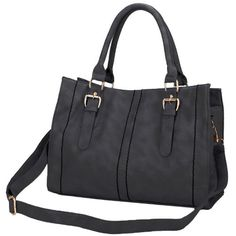 RALEIGH Black Carryall Large Top Double Handles Office Tote Shopper Hobo Handbag Satchel Purse Shoulder Bag