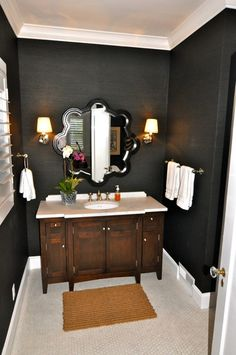 link has many images of dark walls in small bathrooms - loved my old black bath