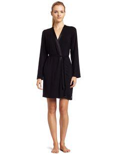 Calvin Klein Womens Essentials With Satin Short Robe, Black, X-Small/Small