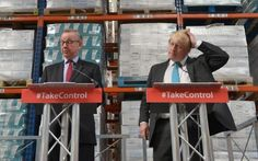 Michael Gove and Boris Johnson campaign for Brexit at a warehouse in…