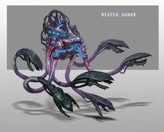 What if Mass Effect's Reapers had captured the useless species too? Specifically, as seen here, the hanar? This one finds it a visual improvement. This one says good job to concept artist Andrew Ryan. Mass Effect Reapers, Mass Effect 1, Mass Effect Universe, Aliens, Commander Shepard, Alien Concept Art, Alien Races, Creature Concept, Fantasy