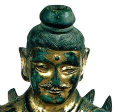 美國哈佛大學福格美術館藏(Fogg Art Museum)金銅佛坐像 頭像局部