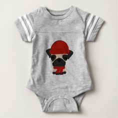 #cute #baby #bodysuits - #Cute Pug Wearing Hat and Scarf Baby Bodysuit