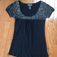 Guess top with beads Size Small Never been worn, just kept it in a dust smoke free closet for 3 years and finally decided to let it go. Very nice soft fabric. Guess Tops
