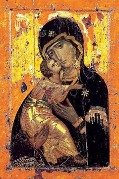 Vladimir Madonna, 12th cent.   Repinned and repinned, over and over, because Her tender love is so beautiful and His adoration of her is awe-inspiring.