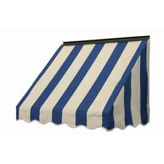 NuImage Awnings 3 ft. 3700 Series Fabric Window Awning (23 in. H x 18 in. D) in Mediterranean/Canvas Block Stripe-37X5X42492103X - The Home Depot