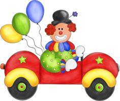 Clown in a car.
