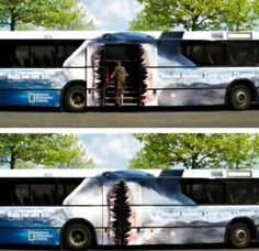 I love clever bus wraps. Here's the National Geographic shark bus.
