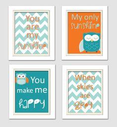 Nursery Quad Blue and Orange Nursery You are my by ChicWallArt, $37.00