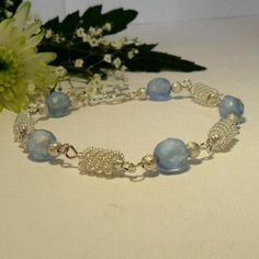 A pretty blue and silver spiral bracelet, perfect for a bride on her wedding day or for her bridesmaids.  £20.00