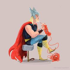 superheroes knitting … ~by karl james mountford