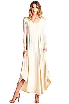 12 Ami Curved Hem V-Neck Long Sleeve Maxi Dress Blush XXL  Crafted in a  soft knit rayon 1ab66d2a6
