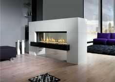 Awesome Wooden Floor Design Feat Captivating Natural Gas Fireplace Room Divider Idea Also Purple Couch Stunning Natural Gas Fireplace Creating Classic Nuance Fireplace Design Gas Wall Fireplace, Ventless Natural Gas Fireplace, Vent Free Gas Fireplace, Linear Fireplace, Wooden Fireplace, Double Sided Fireplace, Fireplace Design, Fireplace Ideas, Floating Fireplace