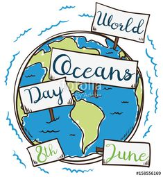 Earth with Signs in Hand Drawn Style for Oceans Day