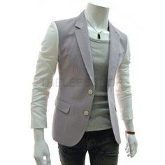 Purple Contrast 2 Buttons Blazer Men Suits Korean Clothing Dandy Fashion