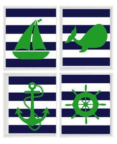 Nautical Nursery Art Print Set - Green Navy Blue Stripes Decor - Whale Anchor Sailboat Wheel - Wall Art Home Decor Set 4 8x10