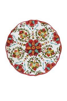 "Set of 2 Melamine ""Allegra Red"" Dinner Plates.They are great for both Indoor and Outdoor Entertaining. Melamine is a non-breakable and dishwasher safe.  Measures: 11"" diameter  Melamine Dinner Plates by Le Cadeaux. Home & Gifts - Home Decor - Dining - Dinnerware Kentucky"