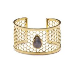A chunky open-ended adjustable gold cuff with cut-out design and Labradorite centrepiece. Silver Cuff, Sterling Silver, Silver Earrings, Silver Jewelry, Cut Out Design, Golden Age Of Hollywood, Clear Crystal, Rose Gold Plates, Labradorite