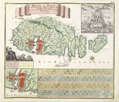 """May 11, #MaltaMapMonday brings us a map from the 18th century. """"Melite vulgo Malta"""" by Suetter (Augsburg, c. 1760). The map includes and inset of Valletta, a ship of the order going into battle, and the heraldry of the order."""