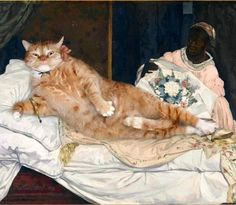 Edouard Manet, Olympia, true version. #fatcatart Do cats like flowers?  I hope you know the right answer😋 #manet #flowers  #paintingoftheday #catpainting #artprint #classicart #classicartmemes #fatcat #bigcat #catsofinstagram #orangecat #gingertabby...