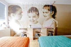 Love the over-sized images of their children as wallpaper.  Novogratz.