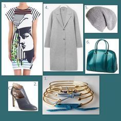 1. Green/blue combo PS 2. SJP Lee side lace Nappa booties 3. Clover Canyon Athena dress 4. COS Grey coat 5. Cashmere grey beanie black.co.uk 6. Caly bag lamodeuse.com