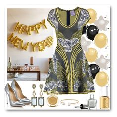 """""""NYE House Party"""" by lulala002 ❤ liked on Polyvore featuring Hervé Léger, Freida Rothman, Casadei, David Yurman, Milani, Essie, herveleger, NewYearsEve, newyear and nye"""