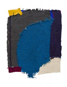 Anthony Frost, M V + E E, 2015, Acrylic and pumice on hessian scrim, table mat, sacking and canvas, 27 x 21 inches