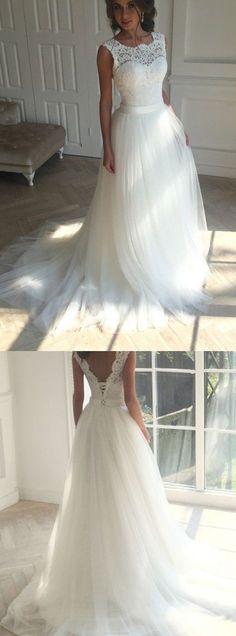 Long Princess Wedding Dresses, Ivory Sleeveless With Applique Sweep Train Wedding Dresses